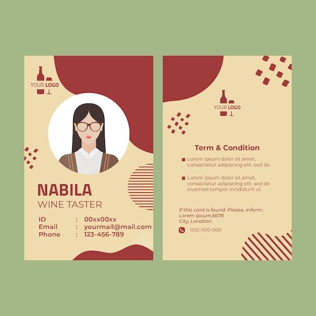 Modello di carta d'identità del vino Vettore gratuito