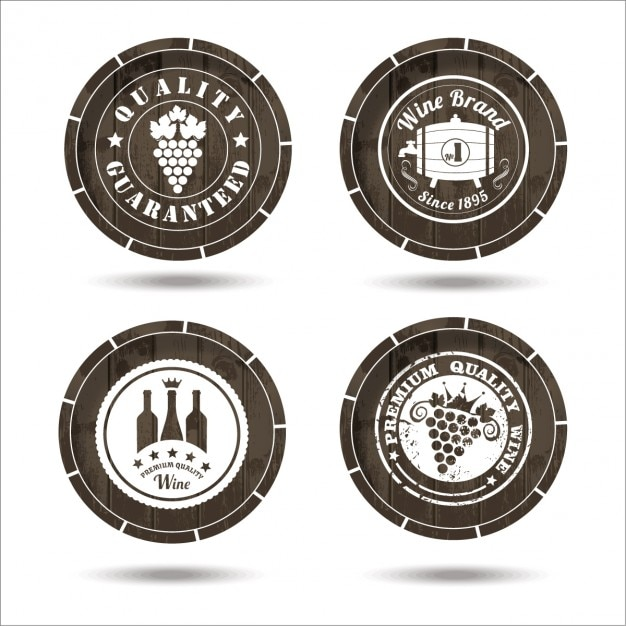 Wine Labels On Cask Set Vector