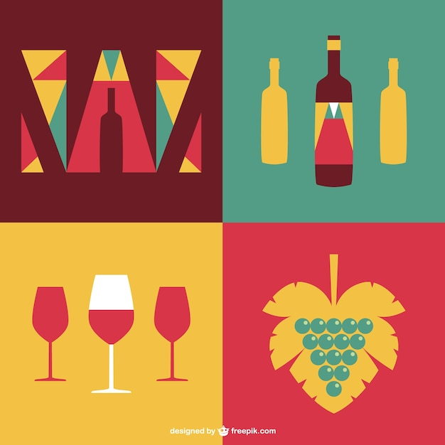 Wine Labels With Glasses And Bottles Free Vector