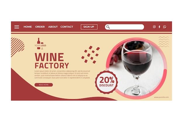 Modello di pagina di destinazione del vino Vettore gratuito