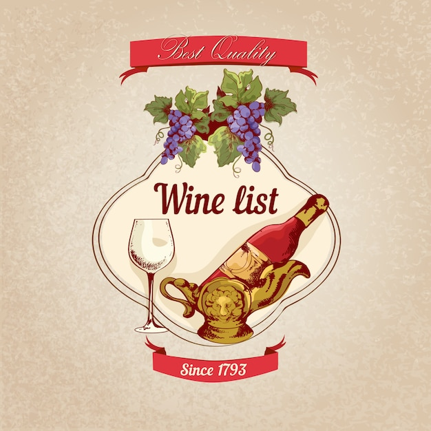 Wine list retro illustration Free Vector