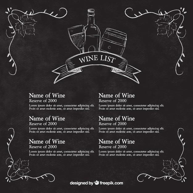 Wine list sketches on blackboard