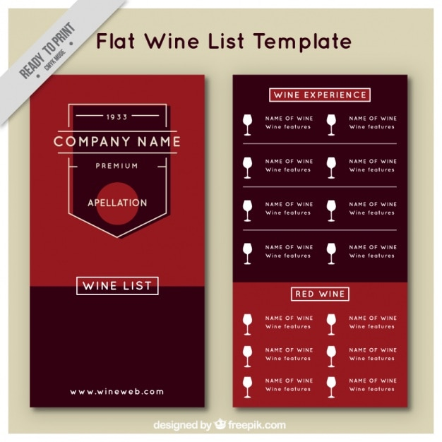 wine list template in flat style vector free download. Black Bedroom Furniture Sets. Home Design Ideas
