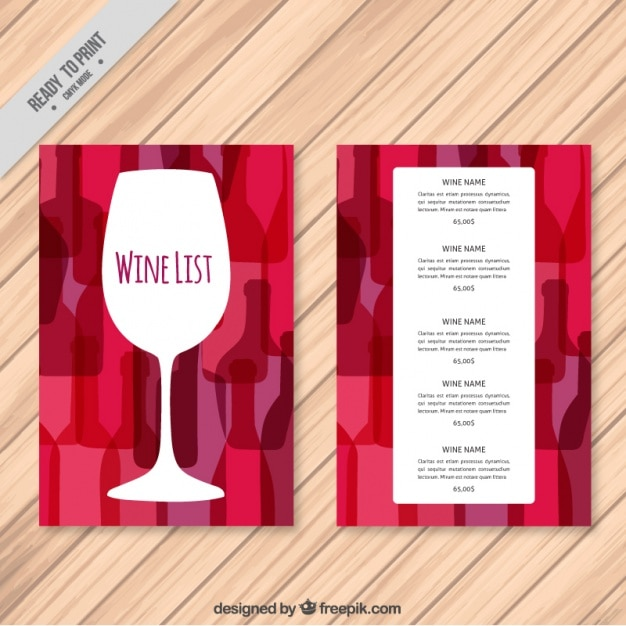 Wine List Template With Colorful Background Free Vector  Free Wine List Template