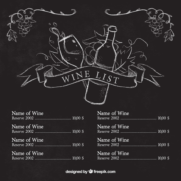 Wine list template with sketches on blackboard Vector | Free Download