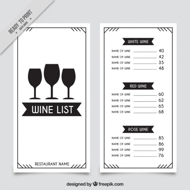 Wonderful Wine List Template With Three Glasses Free Vector Within Free Wine List Template