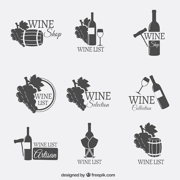 Wine logos Free Vector