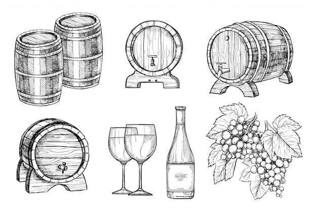 Wine making hand drawn set Premium Vector