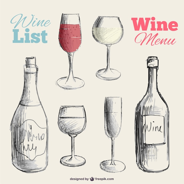 Wine menu hand drawn vector