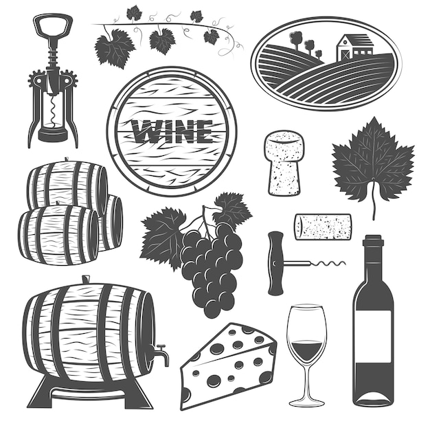 Wine monochrome objects set with vine wooden barrels bunch of grapes cheese signboard corkscrews isolated Free Vector