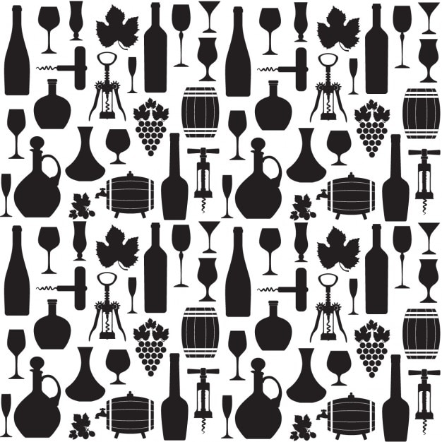 Wine pattern in black and white Free Vector