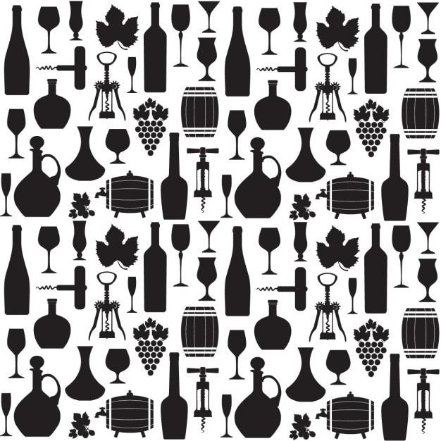 흑인과 백인 와인 패턴 무료 벡터