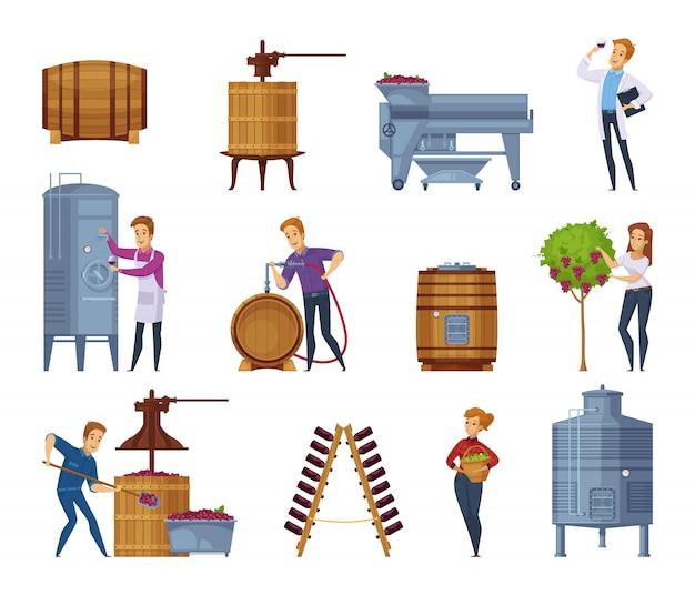 Wine production cartoon icons set Free Vector