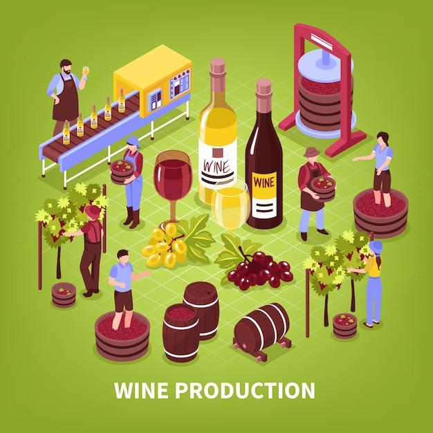 Composizione della produzione di vino pigiatura del vigneto di imbottigliamento dell'uva e invecchiamento in botti isometrico Vettore gratuito