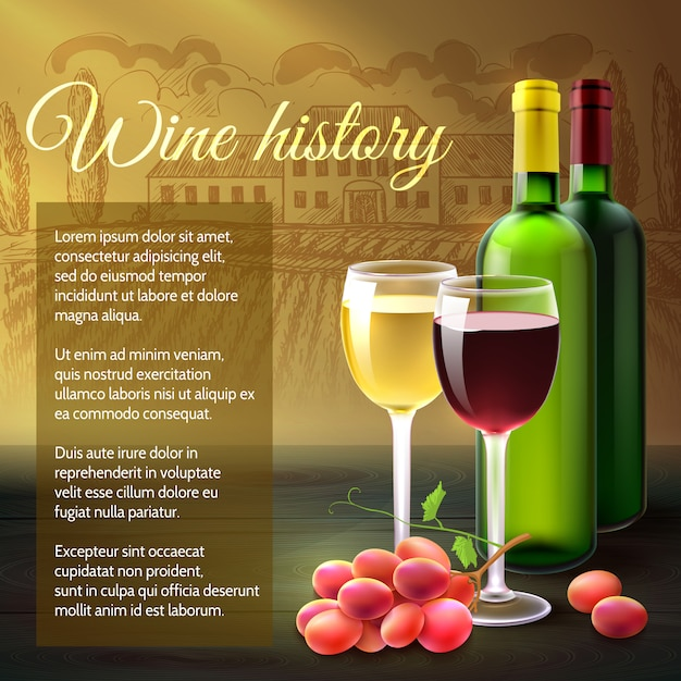 Wine realistic background Free Vector