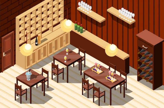 Wine restaurant interior Free Vector