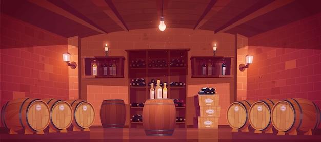 Enoteca, interno della cantina con botti di legno, mensole con bottiglie di vetro, scatole con produzione e lampade o candele. negozio di bevande alcoliche nel seminterrato dell'edificio. fumetto illustrazione vettoriale Vettore gratuito