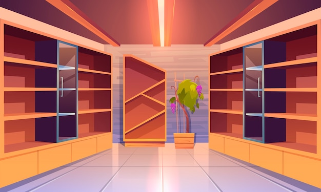 Wine shop interior with empty wooden shelves. Free Vector