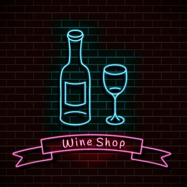 Wine shop. neon blue sign. light banner on a brick wall. Premium Vector