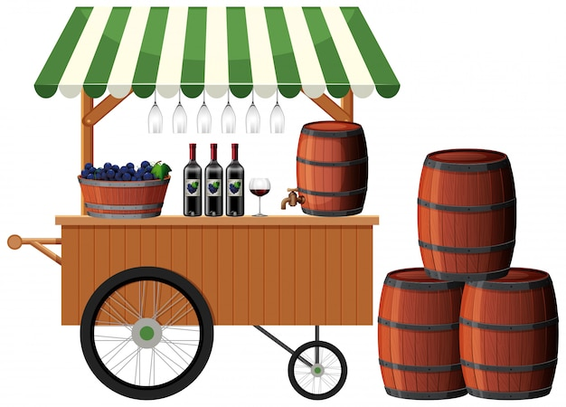 A wine shop stall Free Vector