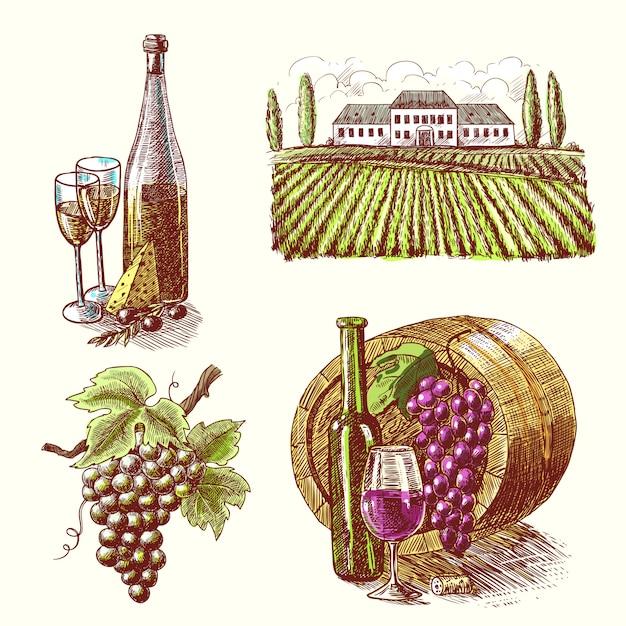 Wine sketch decorative set Free Vector