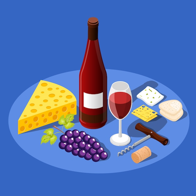 Wine and snacks background Free Vector