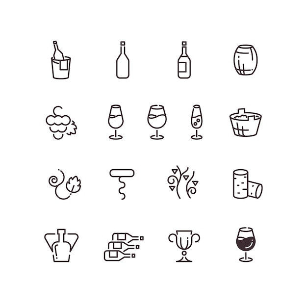 Wine sommelier winery thin line vector icons Premium Vector