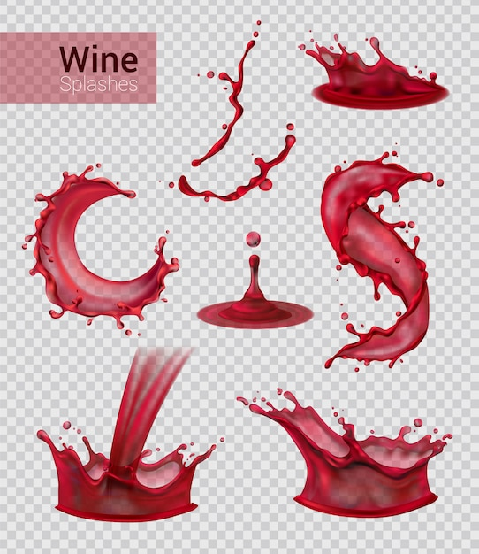 Вино всплеск реалистичный набор изолированных брызг жидкого красного вина с каплями на прозрачной иллюстрации Бесплатные векторы