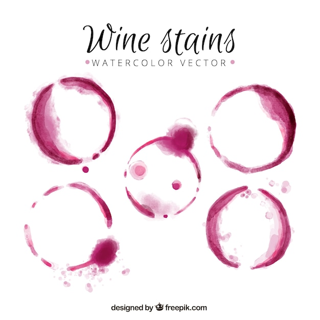 Wine stains made with watercolor