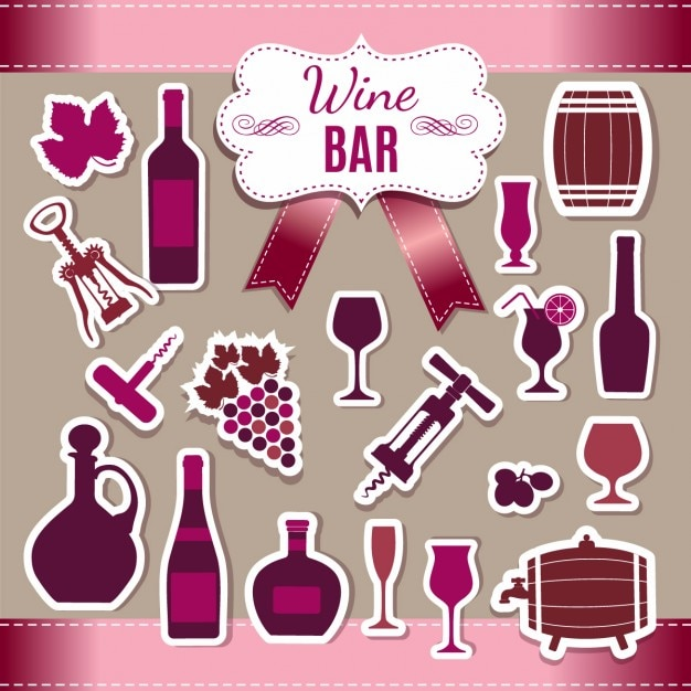 Wine stickers collection Vector | Free Download