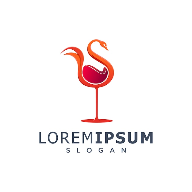 Wine swan logo Premium Vector