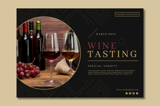 Шаблон рекламного баннера дегустации вин Premium векторы