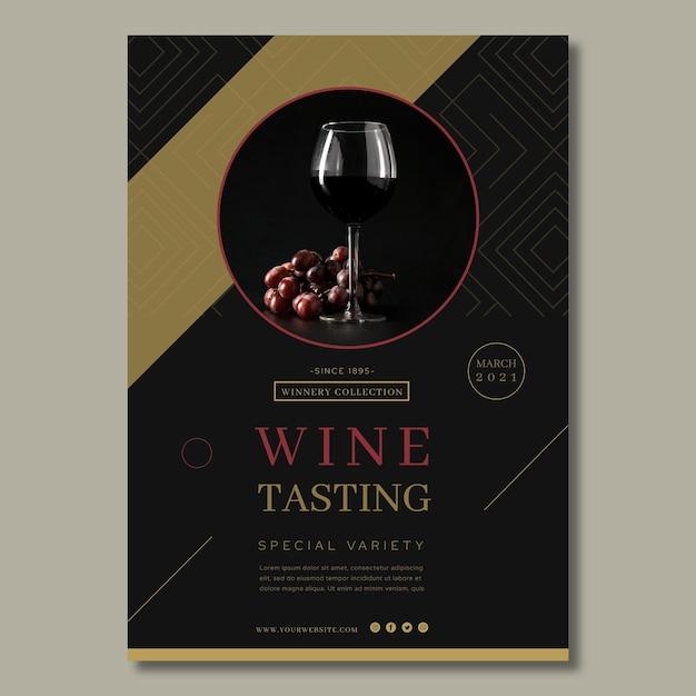 Modello di poster pubblicitario per degustazione di vini Vettore gratuito