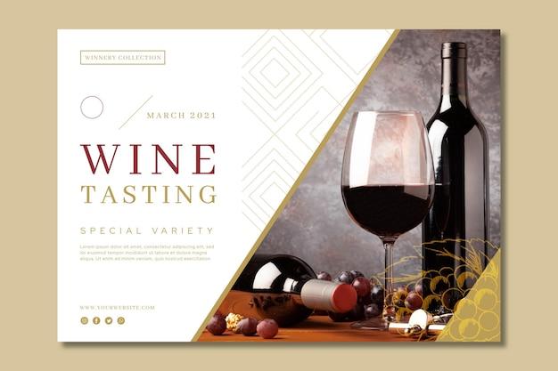 Banner di modello di annuncio di degustazione di vini Vettore gratuito