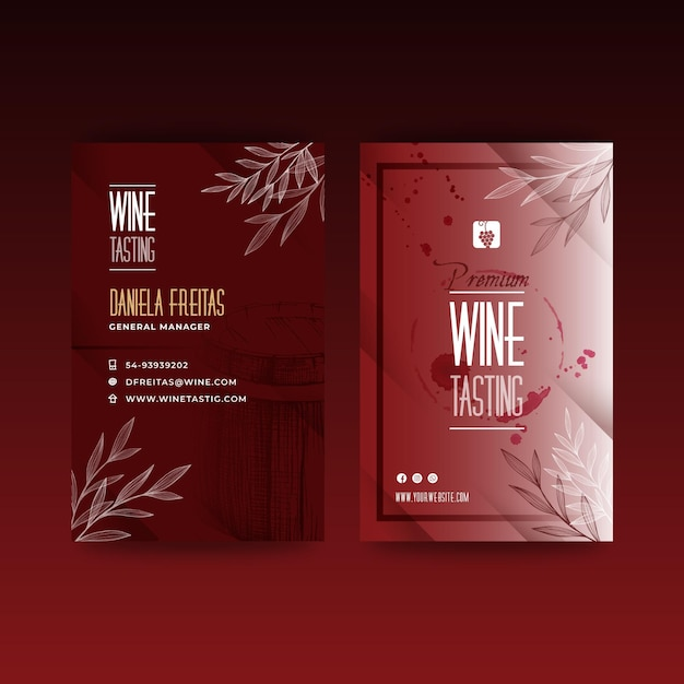 Шаблон визитки для дегустации вин Premium векторы