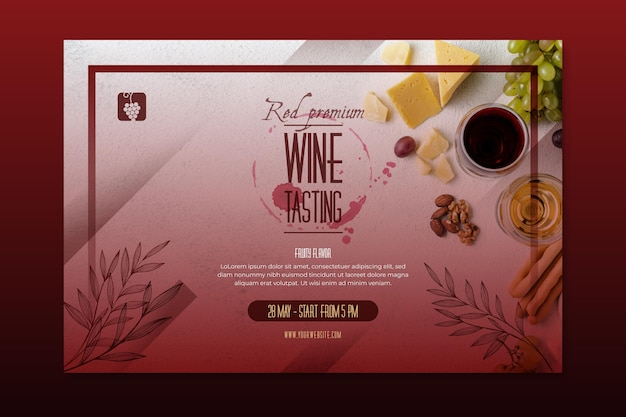 Шаблон баннера дегустации вин Premium векторы