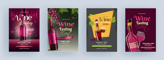 Wine tasting event template or flyer design with drink bottle and cocktail glass in four color option. Premium Vector