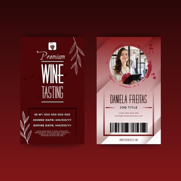 Шаблон удостоверения личности дегустации вин Бесплатные векторы