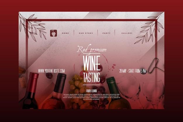 Modello di pagina di destinazione per degustazione di vini Vettore gratuito