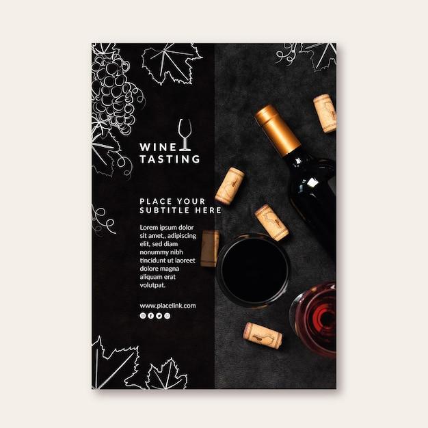Modello di poster di degustazione di vini Vettore gratuito