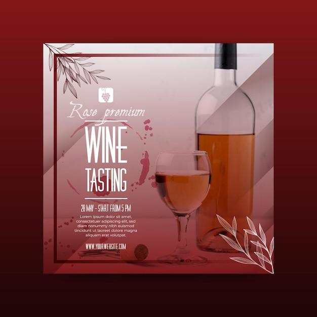 Volantino quadrato modello di degustazione di vini Vettore gratuito