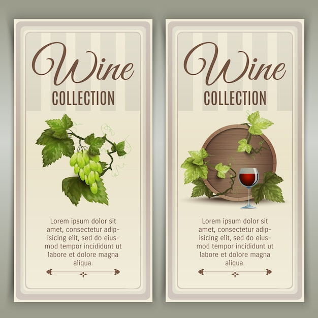 Wine vertical banners set Free Vector