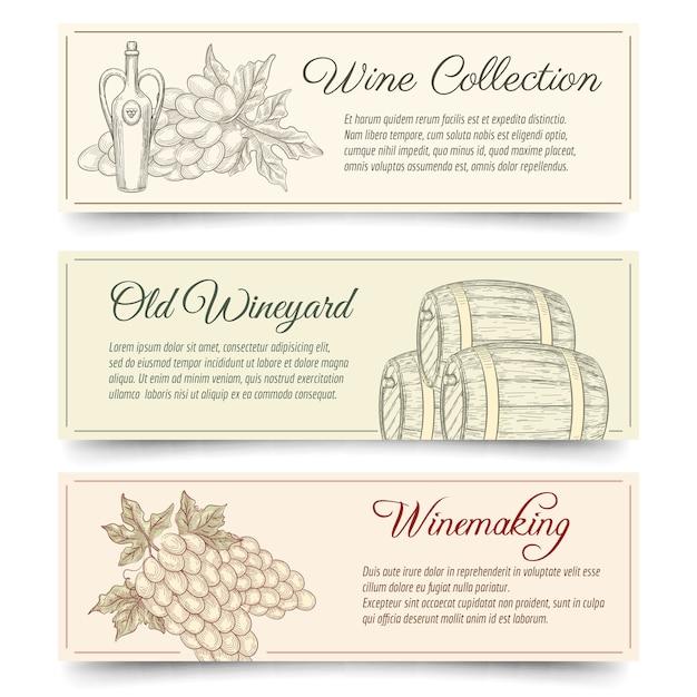 Set di banner per la produzione di vino e vino. bevande e cibo, alcol prodotto, degustazione di uva. bandiere di vettore di vinificazione disegnate a mano Vettore gratuito