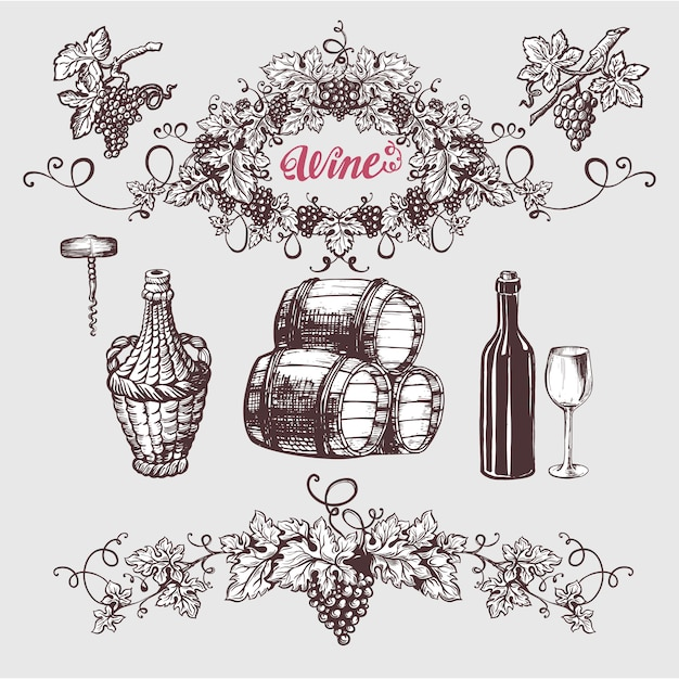 Wine and winemaking vintage set. Premium Vector