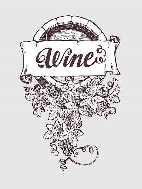 Wine and winemaking vintage vector barrel Premium Vector