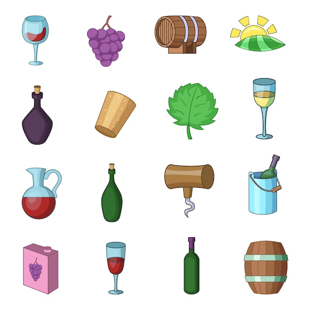 Wine yard icons set Premium Vector