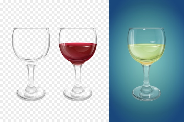 Wineglass 3d illustration of realistic crockery for wine. Free Vector
