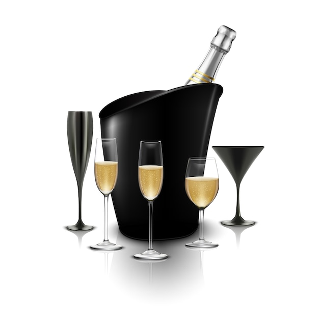 Wineglass and a bottle of champagne in a bucket Premium Vector