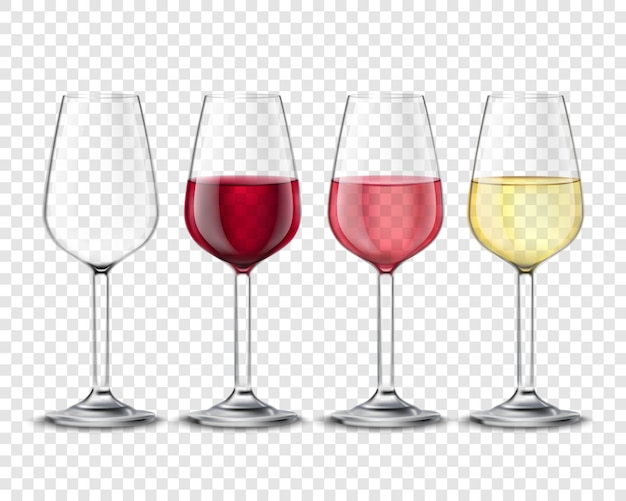 Wineglasses alcohol drinks set transparent poster Free Vector