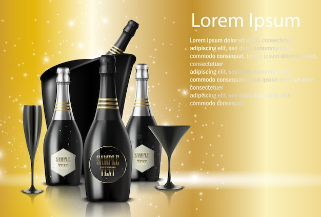 Wineglasses with champagnes on sparkling background Premium Vector
